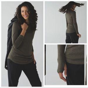 "Lululemon ""Be Bold"" green merino wool sweater"
